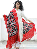 Black Red White Telia Rumal Double Ikat  Handwoven Pochampally Cotton Dupatta -  D04170302