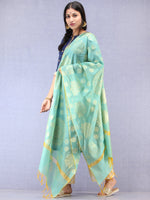 Banarasi Chanderi Dupatta With Resham Work - Sky Blue & Gold - D04170795