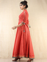 Nazma - Coral Gold Checks Printed Long Urave Cut Dress - D378FXXXX