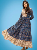 Taraab - Long Hand Block Printed Cotton Tier Dress - D139F1728