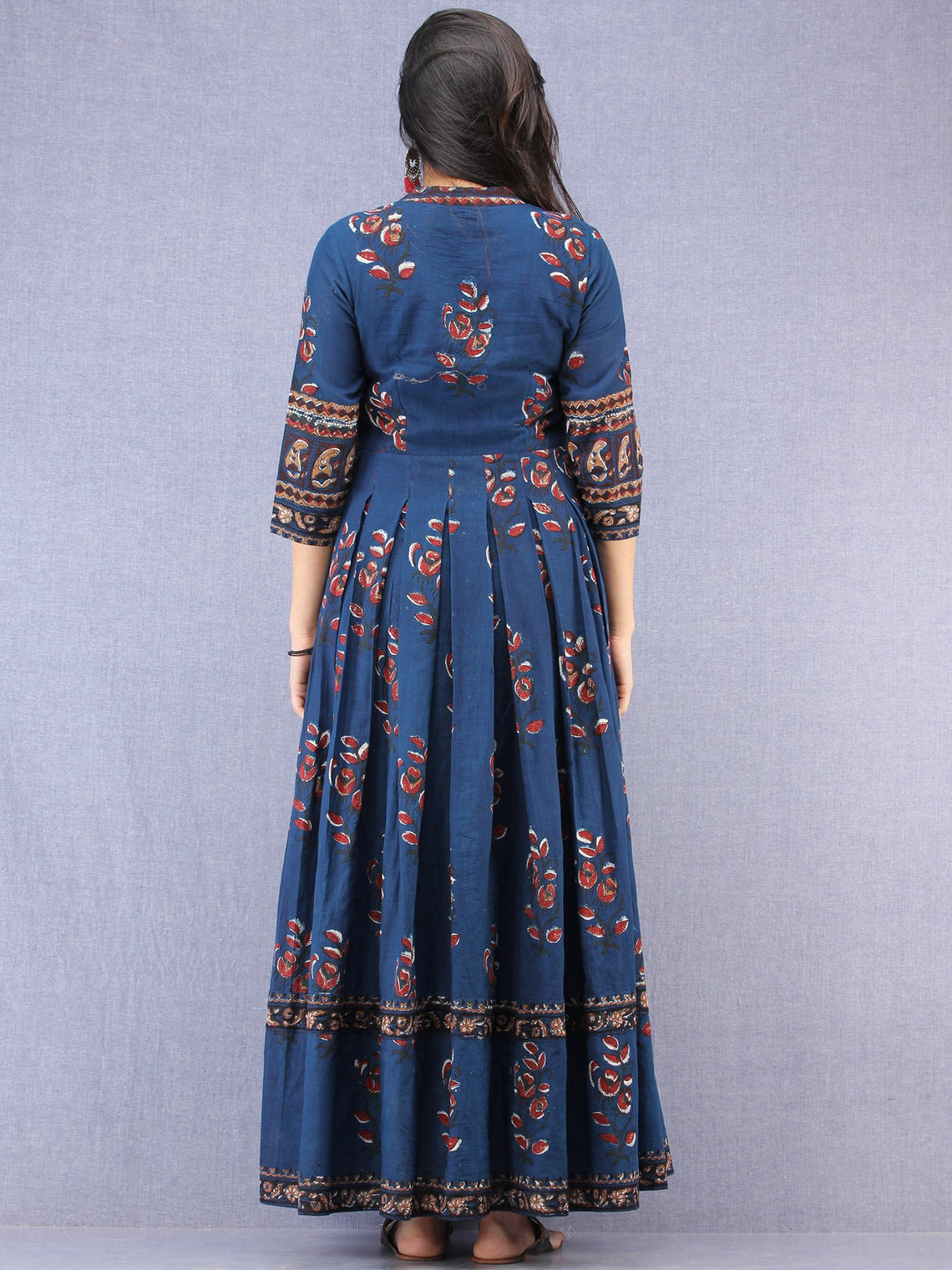 Roheen - Hand Block Printed Long Cotton Box Pleated Embroidered Jacket Dress - DS98F001