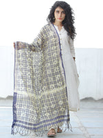 Light Yellow Blue Silver Cotton Art Silk Hand Block Printed Dupatta  - D04170605