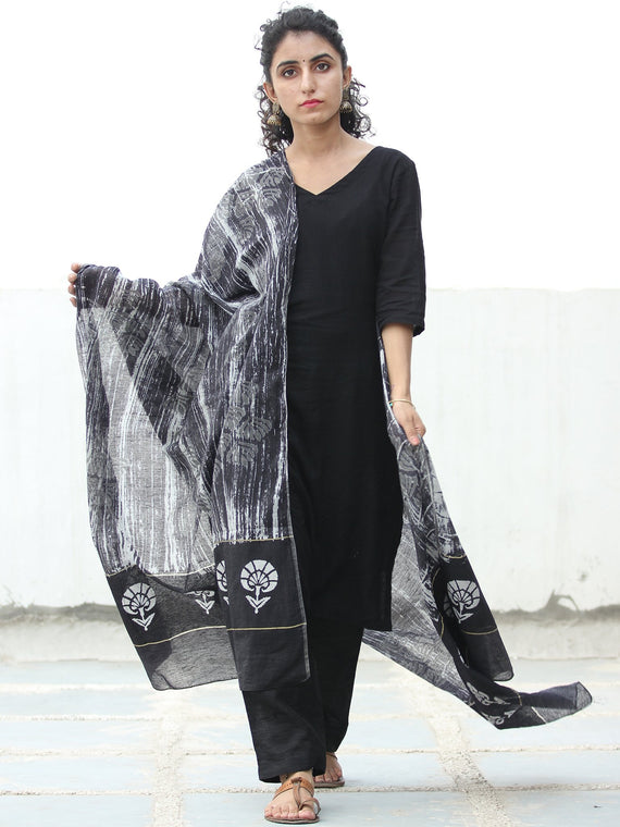 Black White Chanderi Hand Block Printed Dupatta - D04170519
