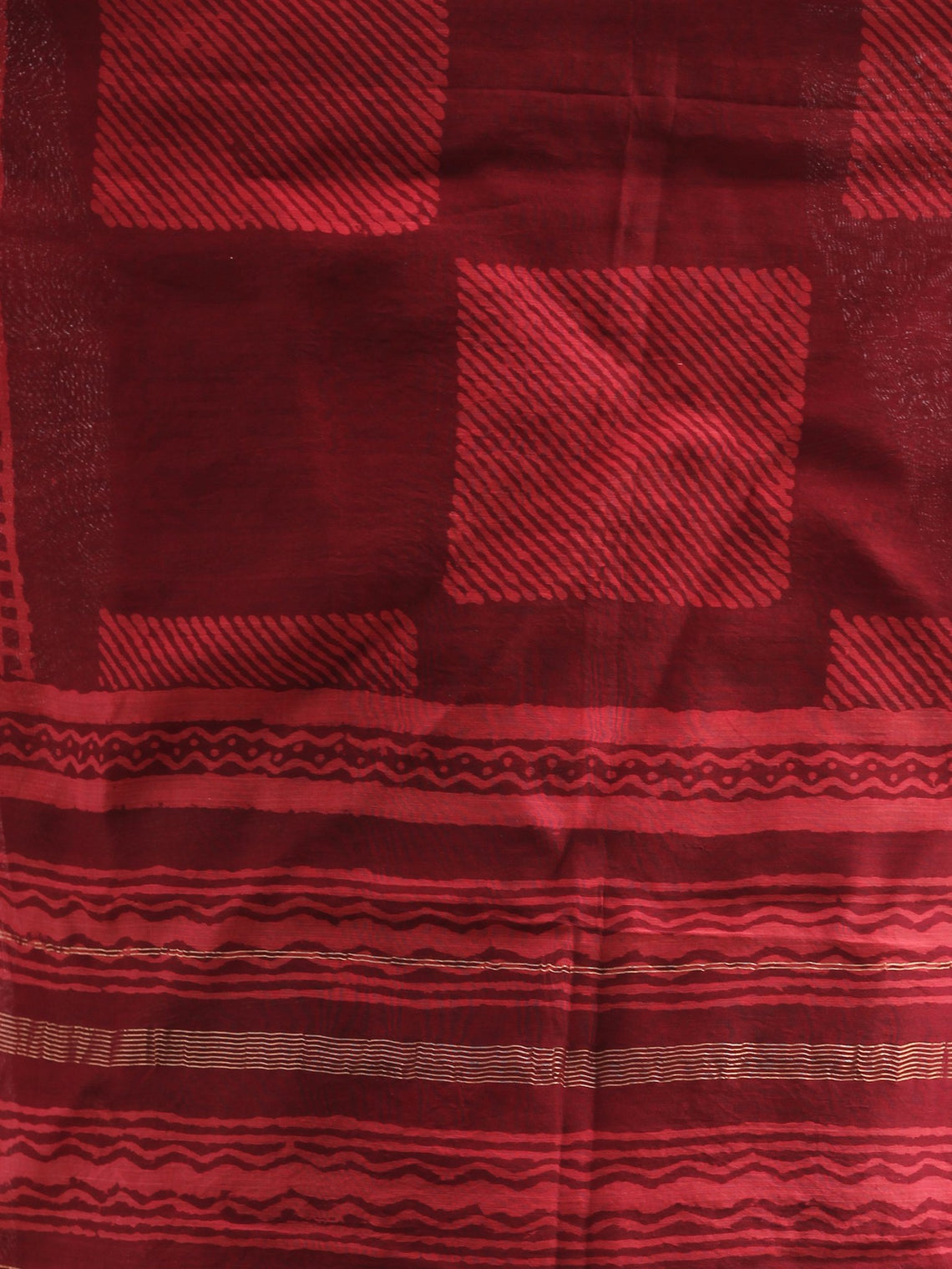Maroon Red Chanderi Hand Block Printed Dupatta - D04170367