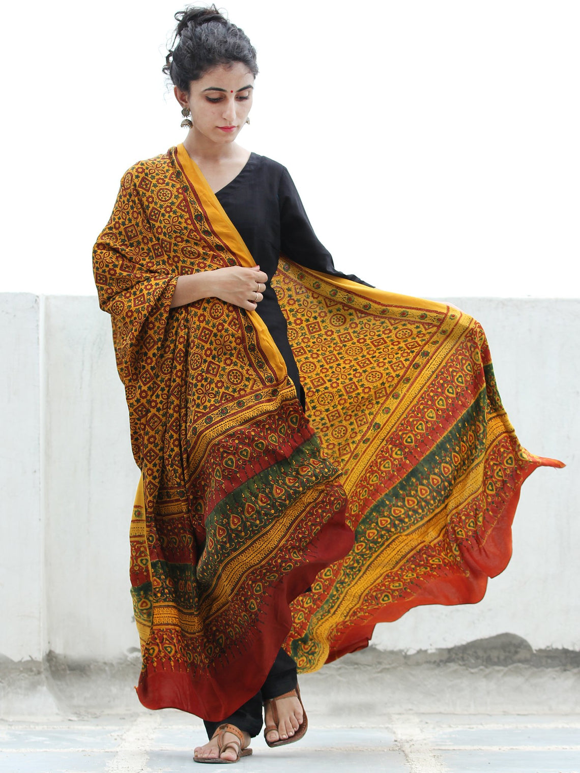 Yellow Red Green Ajrakh Hand Block Printed Modal Silk Dupatta - D04170369