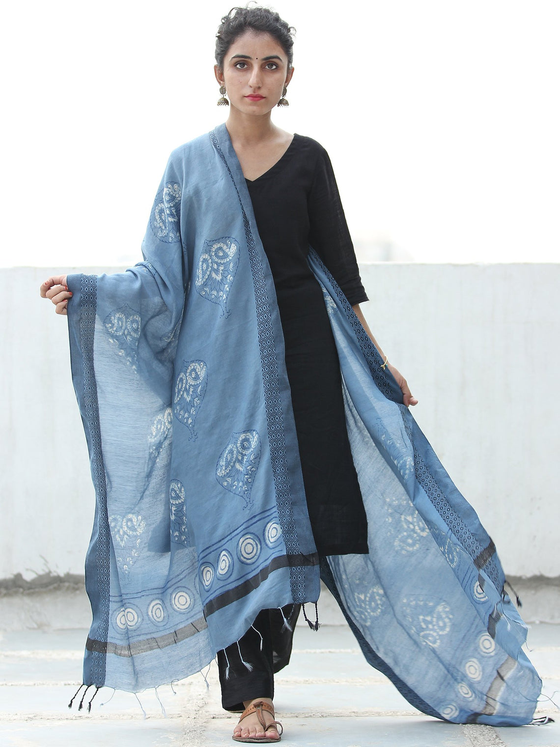 Steel Blue White Cotton Silk Hand Block Printed Dupatta  - D04170523