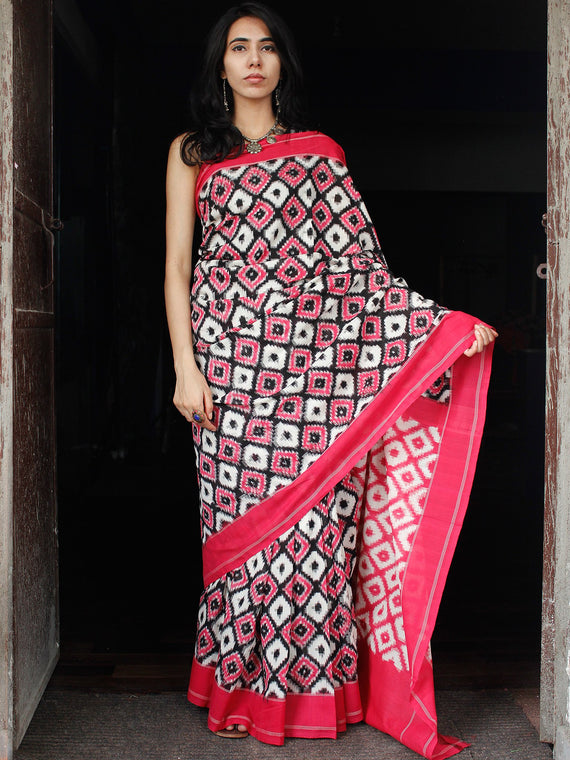 Pink White Black Telia Rumal Double Ikat Handwoven Pochampally Mercerized Cotton Saree - S031703516