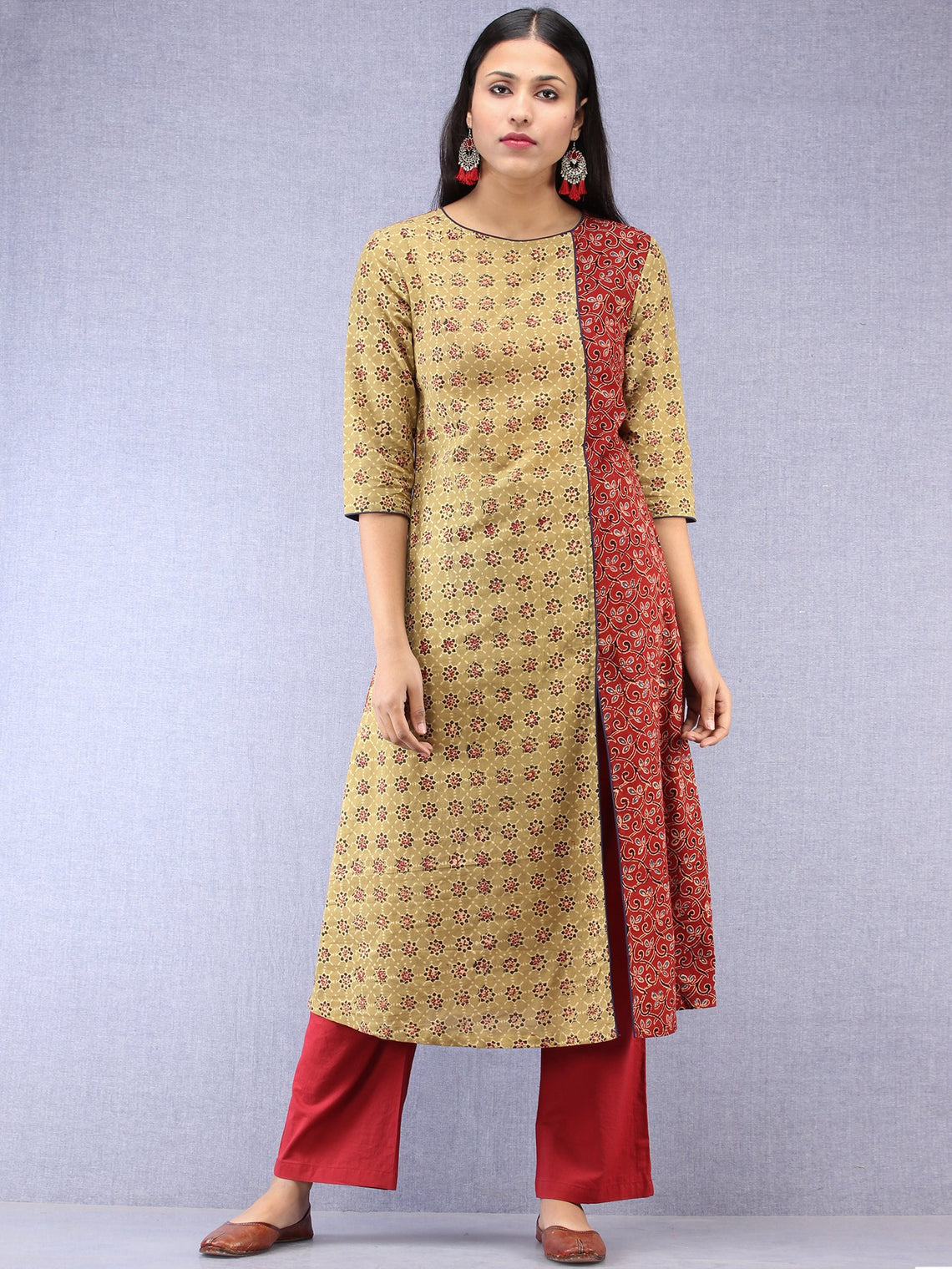 Olive Green Red Black Ajrakh Hand Block Printed Kurta With Front Slit  - K61F1628