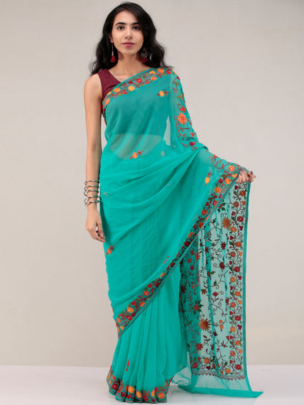 Teal Green Aari Embroidered Georgette Saree From Kashmir - S031704629