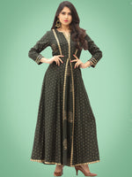 Zafra - Green Gold Printed Long Panel Dress - D397FDDD