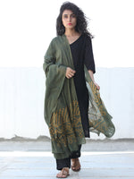 Hunter Green Mustard Cotton Hand Block Printed Dupatta  - D04170452