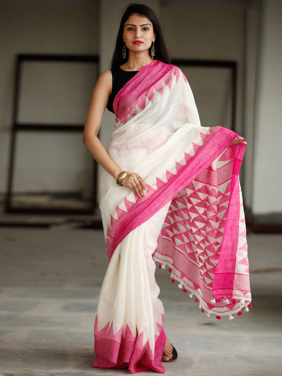 White Pink Handwoven Linen Jamdani Saree With Tassels - S031703778