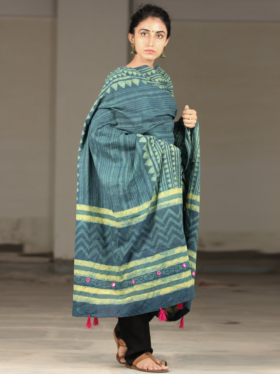 Deep Indigo Green Cotton Hand Block Printed Dupatta With Mirror Work & Tassels - D04170401