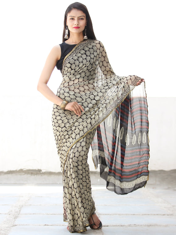 Black Ivory Red Hand Block Printed Chiffon Saree with Zari Border - S031703916