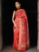 Red Ivory Black Chanderi Silk Hand Block Printed Saree With Geecha Border - S031703613