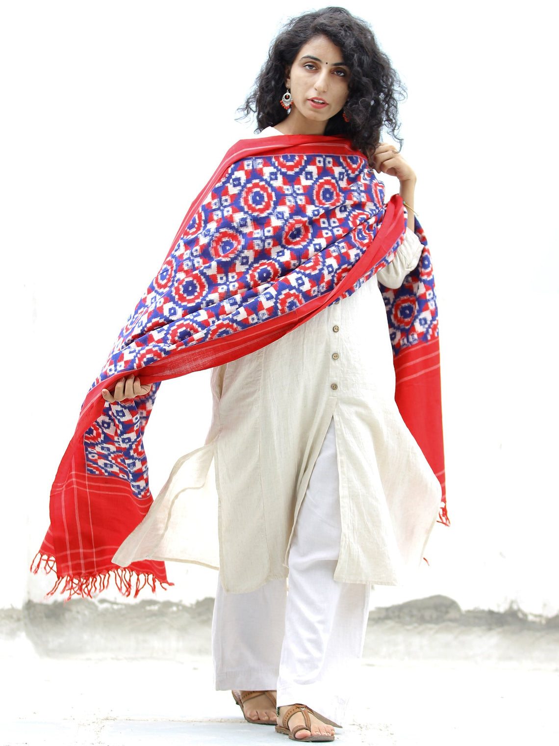 Red Blue White Telia Rumal Double Ikat   Handwoven Pochampally Cotton Dupatta -  D04170304