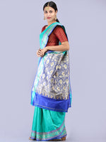 Banarasee Katan Silk Handloom Saree With Zari Work - Sea Green Blue Silver - S031704294