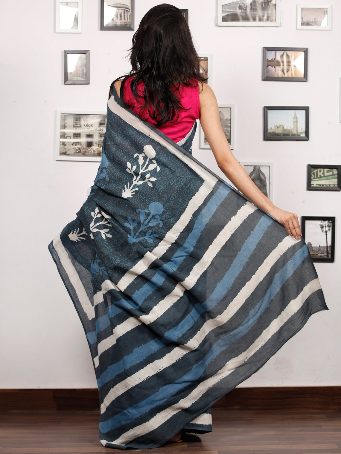 Indigo White Grey Hand Block Printed Cotton Mul Saree - S031703486