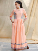 Pastel Special - Hand Block Printed Long Cotton Dress - D347F1846