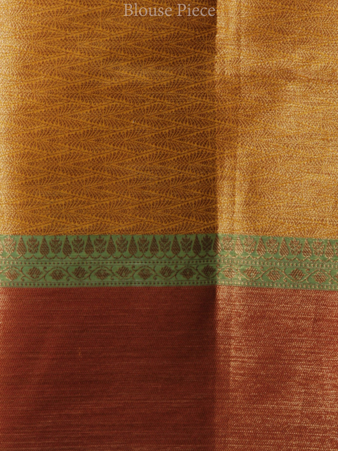 Banarasee Tissue Saree With Zari Work - Yellow Rust Copper Green - S031704313