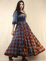 Naaz Mannat - Hand Block Printed Long Cotton Panel Dress - DS87F001