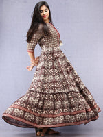 Naaz Sadaf - Hand Block Mughal Printed Long Cotton Dress - DS103F001