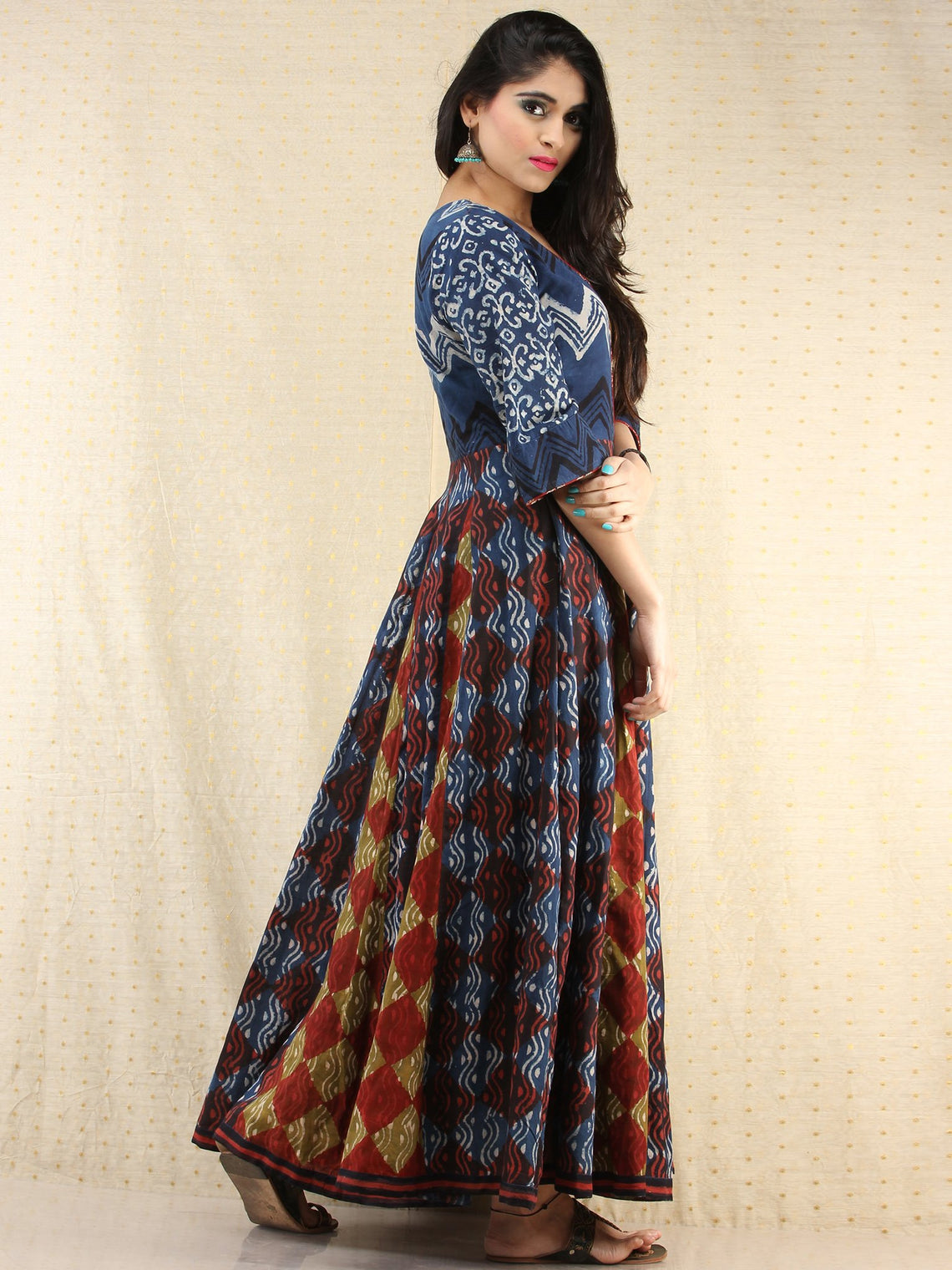 Mannat - Hand Block Printed Long Cotton Panel Dress - DS87F001
