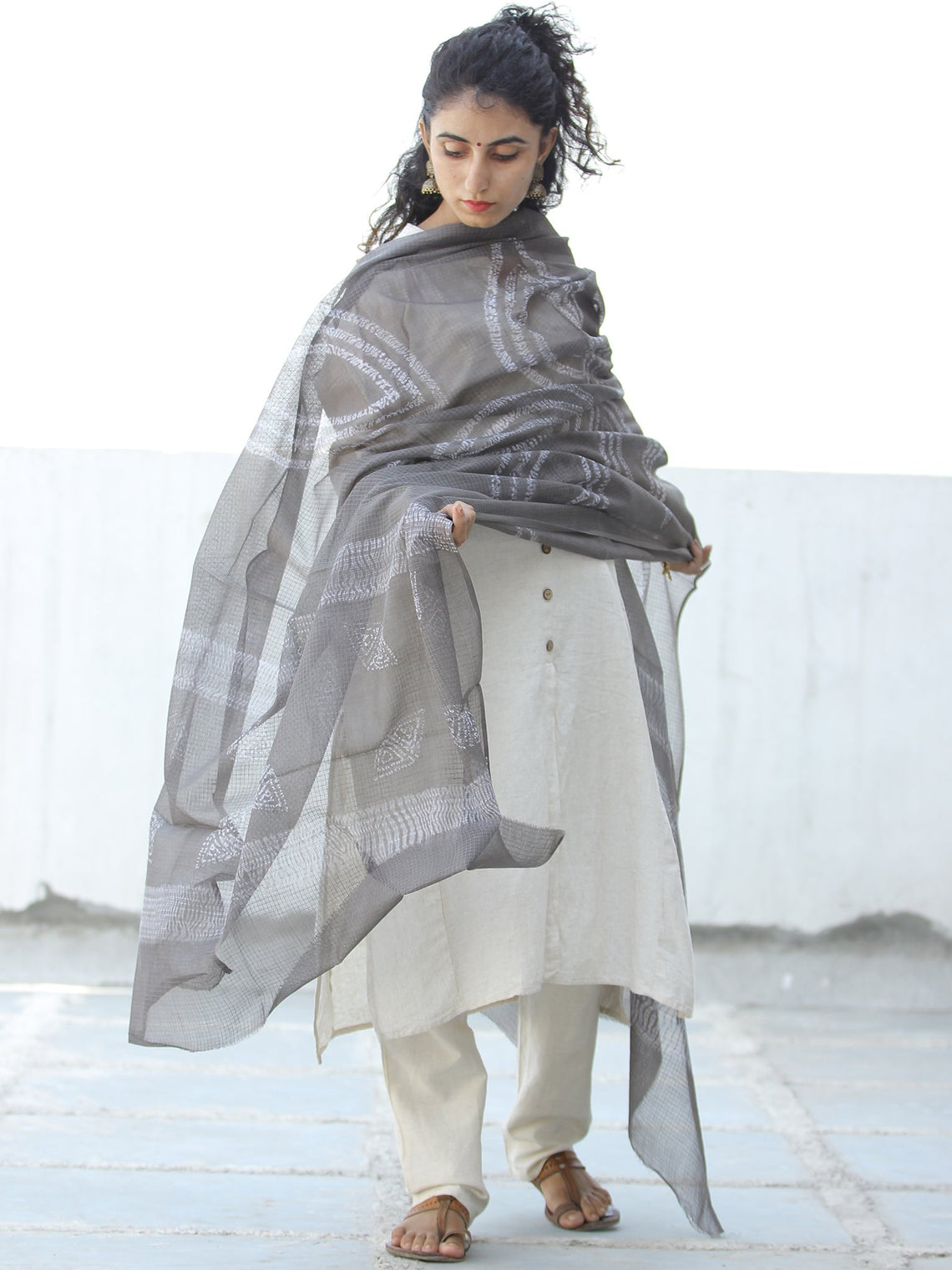 Kashish White Kota Doria Cotton Hand Block Printed Dupatta  - D04170613