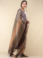 Beige Black Red Chanderi Hand Block Printed Dupatta - D04170764