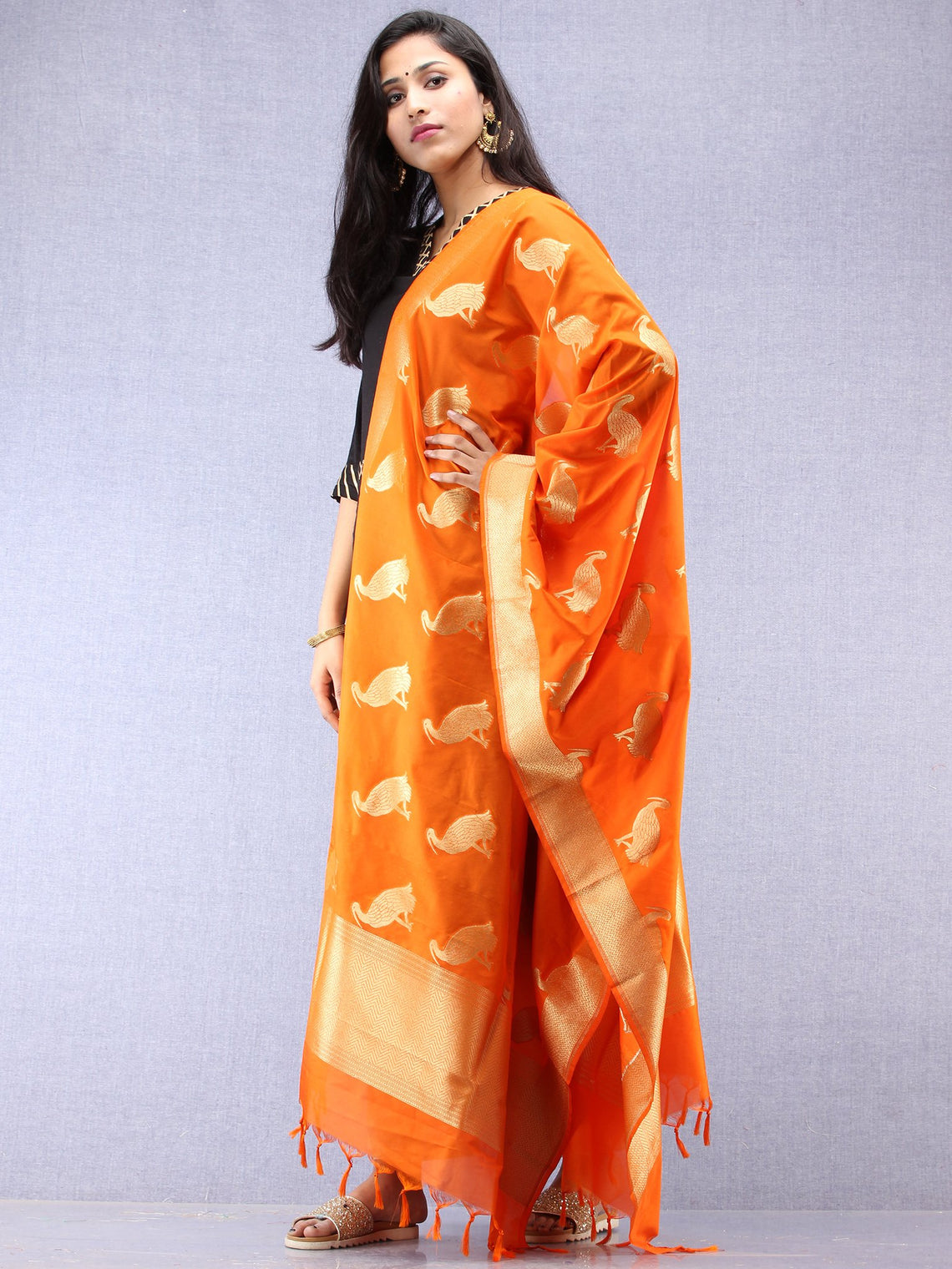 Banarasi Kanni Dupatta With Zari Work - Orange & Gold - D04170868