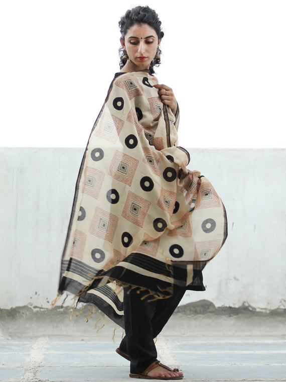 Beige Black Red Chanderi Hand Block Printed Dupatta - D04170375