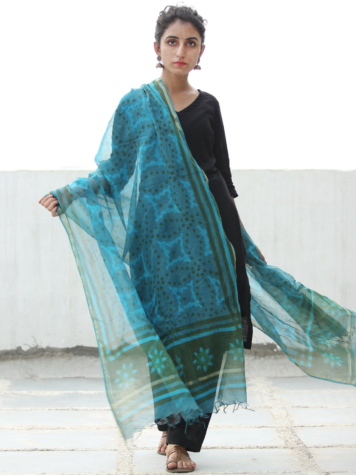 Teal Blue Dark Grey Kota Silk Hand Block Printed Dupatta - D04170529