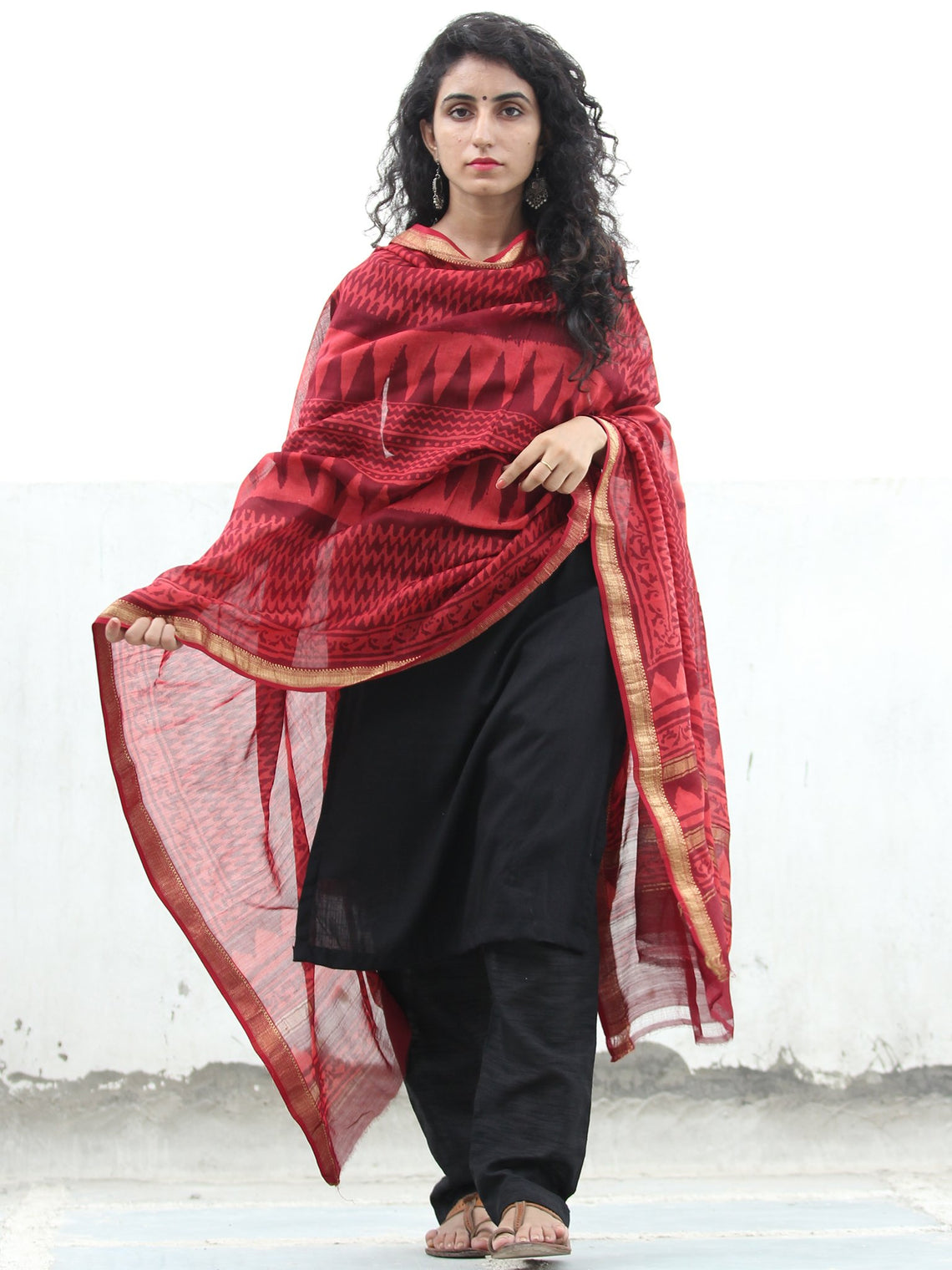 Cherry Red Maroon Chanderi Hand Block Printed Dupatta - D04170380