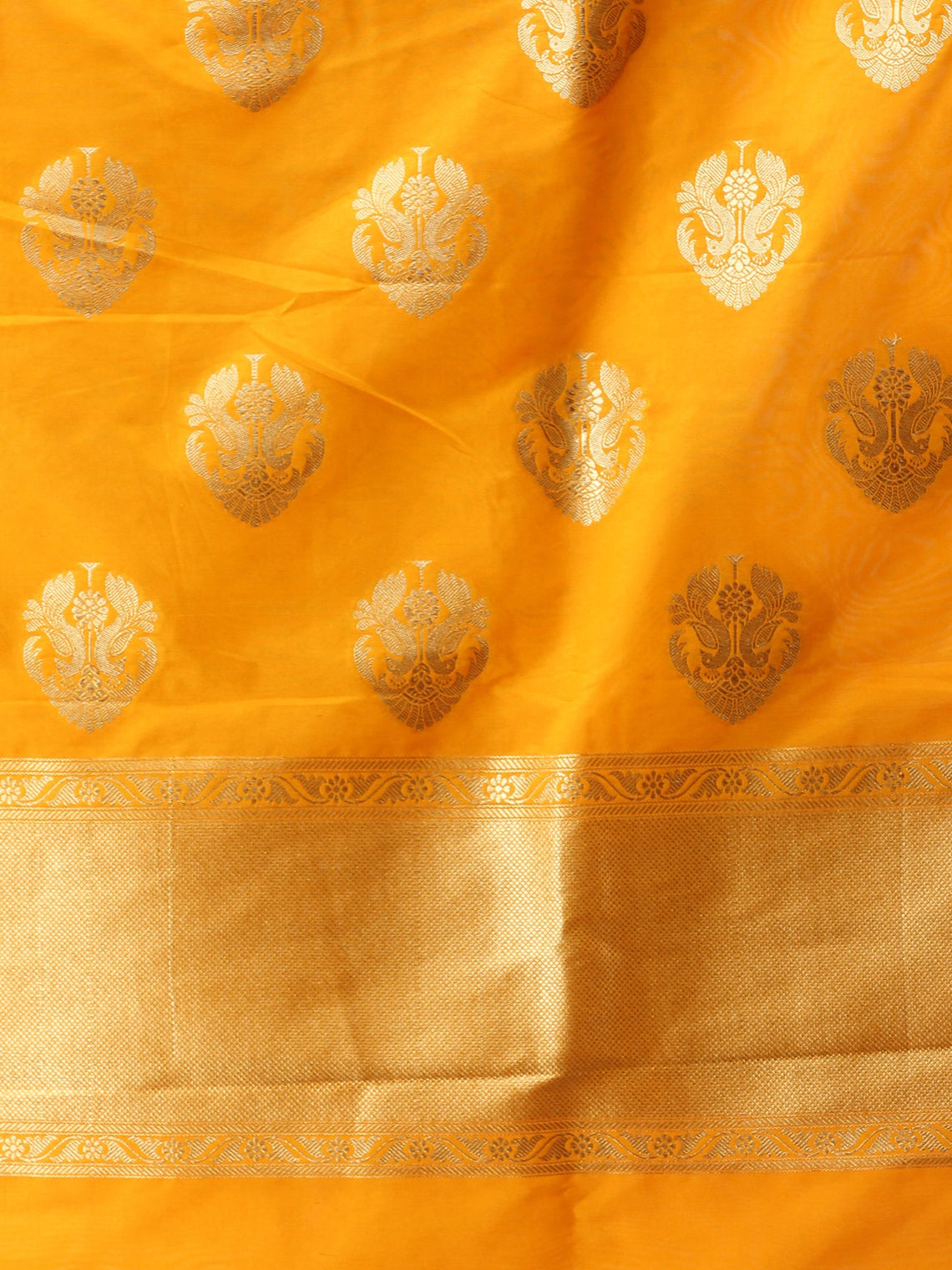 Banarasi Kanni Silk Dupatta With Zari Work - Yellow & Gold - D04170874