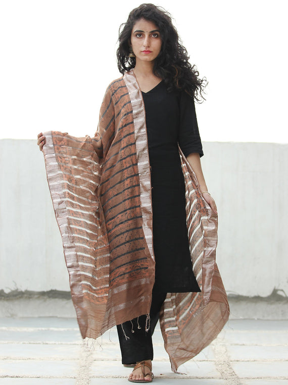 Rustic Black Silver Cotton Art Silk Hand Block Printed Dupatta  - D04170532