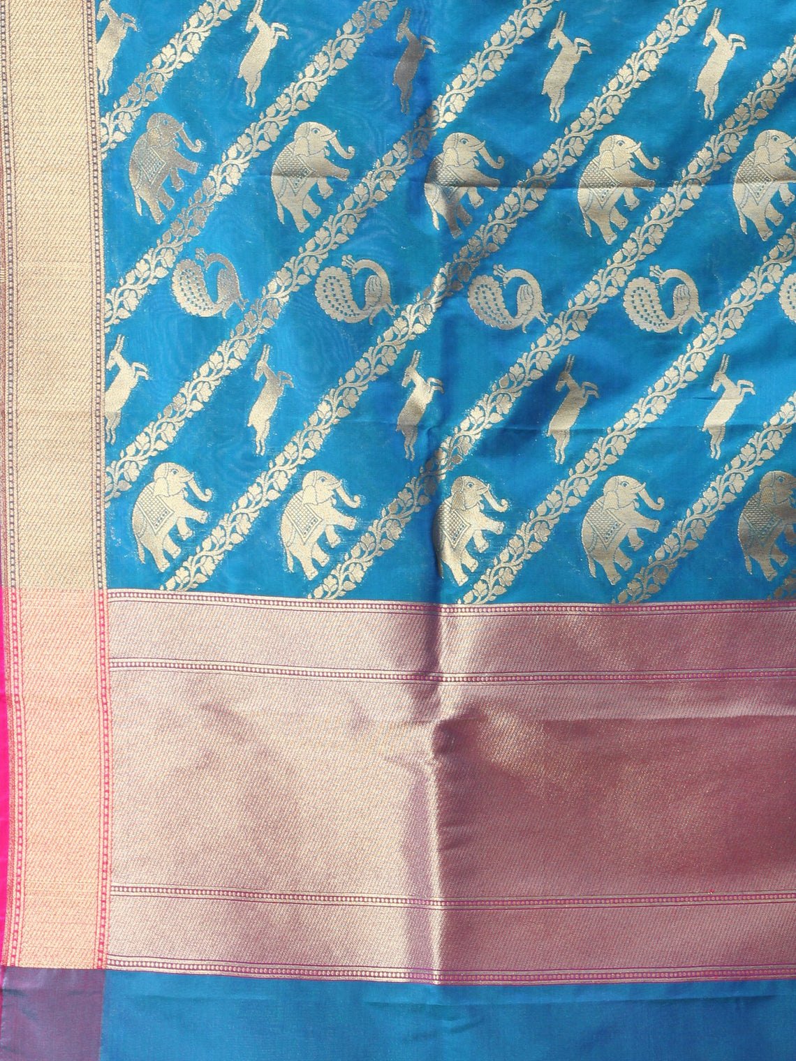 Banarasi Kanni Silk Dupatta With Zari Work - Blue Hot Pink & Gold - D04170875