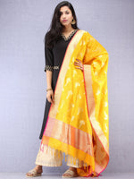 Banarasi Kanni Silk Dupatta With Zari Work - Yellow & Gold - D04170876