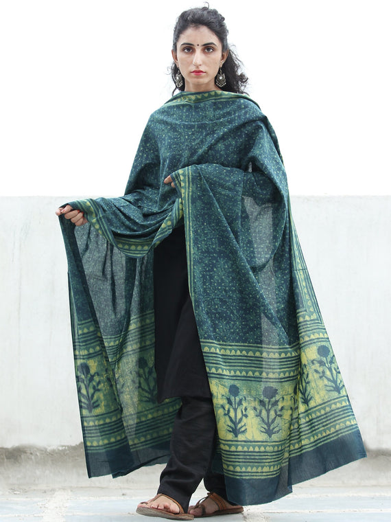 Indigo Green Yellow  Handloom Cotton Hand Block Printed Dupatta - D04170383