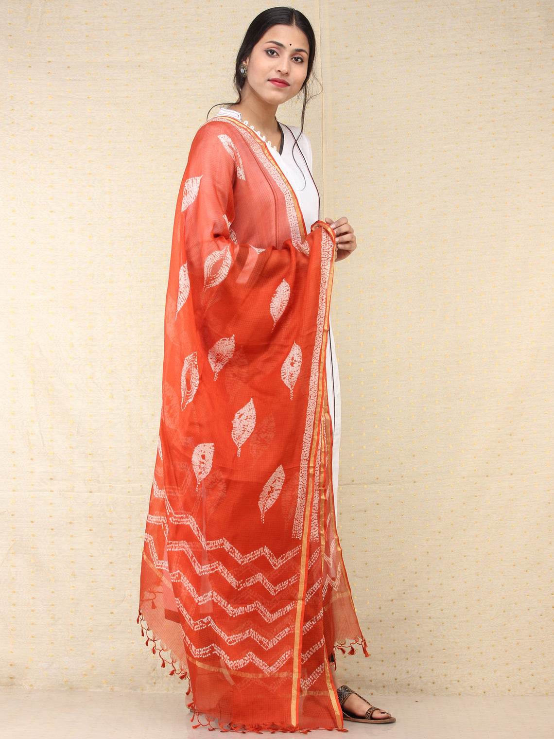 Orange White Kota Silk Hand Block Printed Dupatta - D04170773