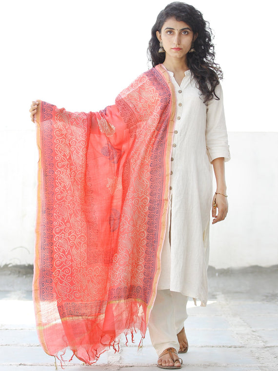 Orange Ivory Blue Chanderi Hand Block Printed Dupatta - D04170542