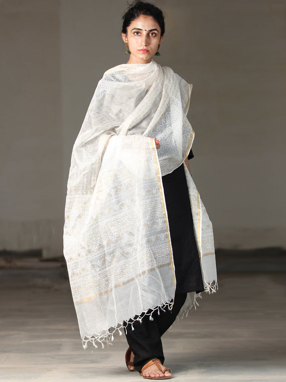 White Golden Kota Silk Hand Block Printed Dupatta - D04170402
