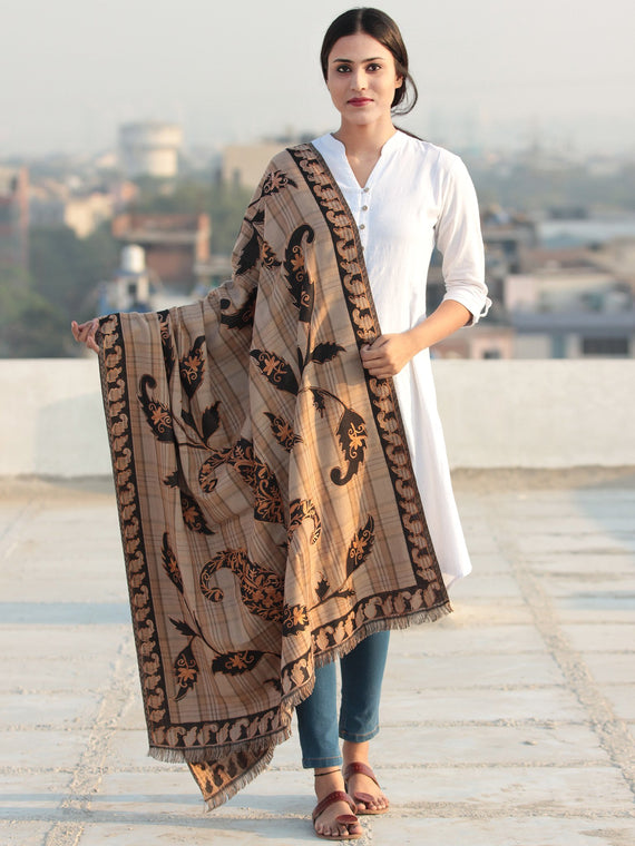 Beige Black Aari Embroidered Pure Wool Self Check Kashmiri Shawl - S200512