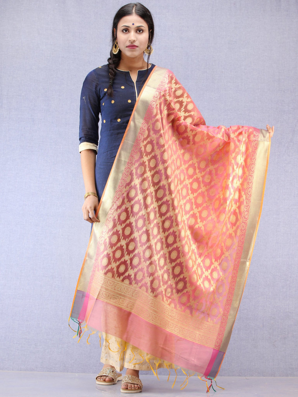 Banarasi Chanderi Dupatta With Resham Work - Pink & Gold - D04170797