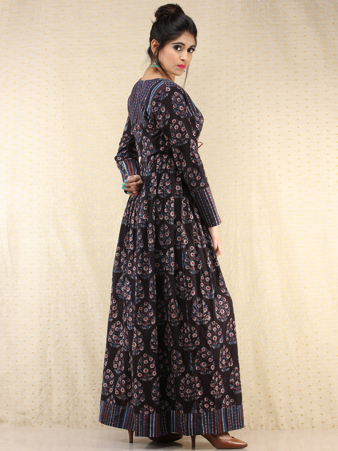 Tamanna - Hand Block Printed Long Cotton Dress - D389F1837