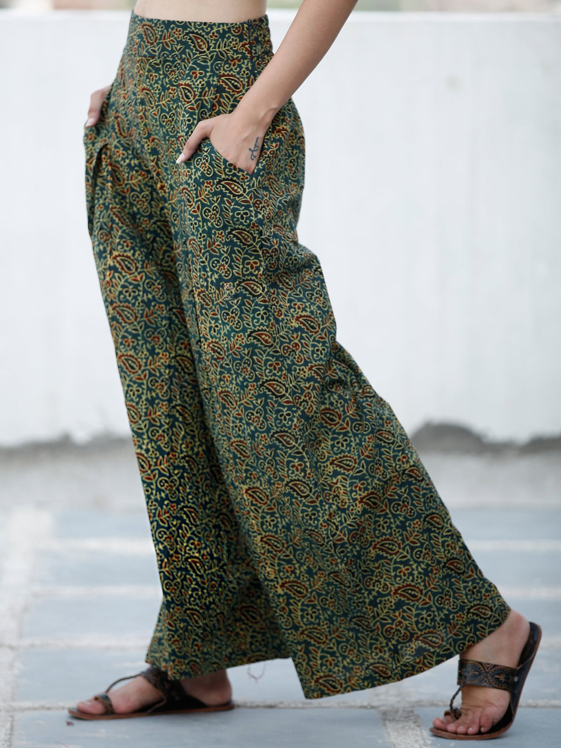 Green Yellow Maroon Ajrakh Hand Block Printed Semi Elasticated Waist Pleated Cotton Palazzo - P11F1590