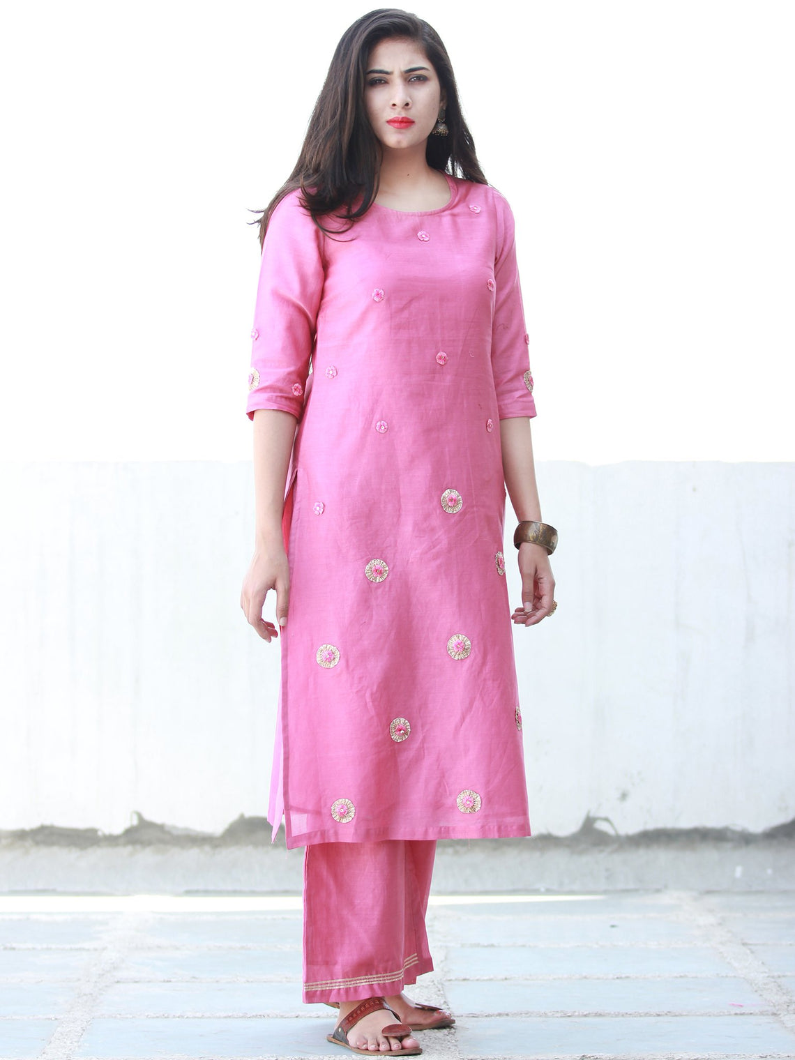 Sparkly Celebrations - Onion Pink Chanderi  Kurta & Pants Sets  - Set of 2  - SS01F057