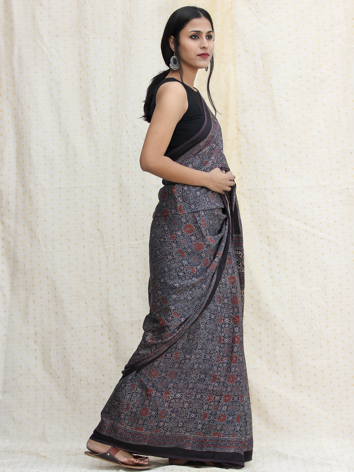 Indigo Charcoal Black Red Ajrakh Hand Block Printed Modal Silk Saree - S031704122