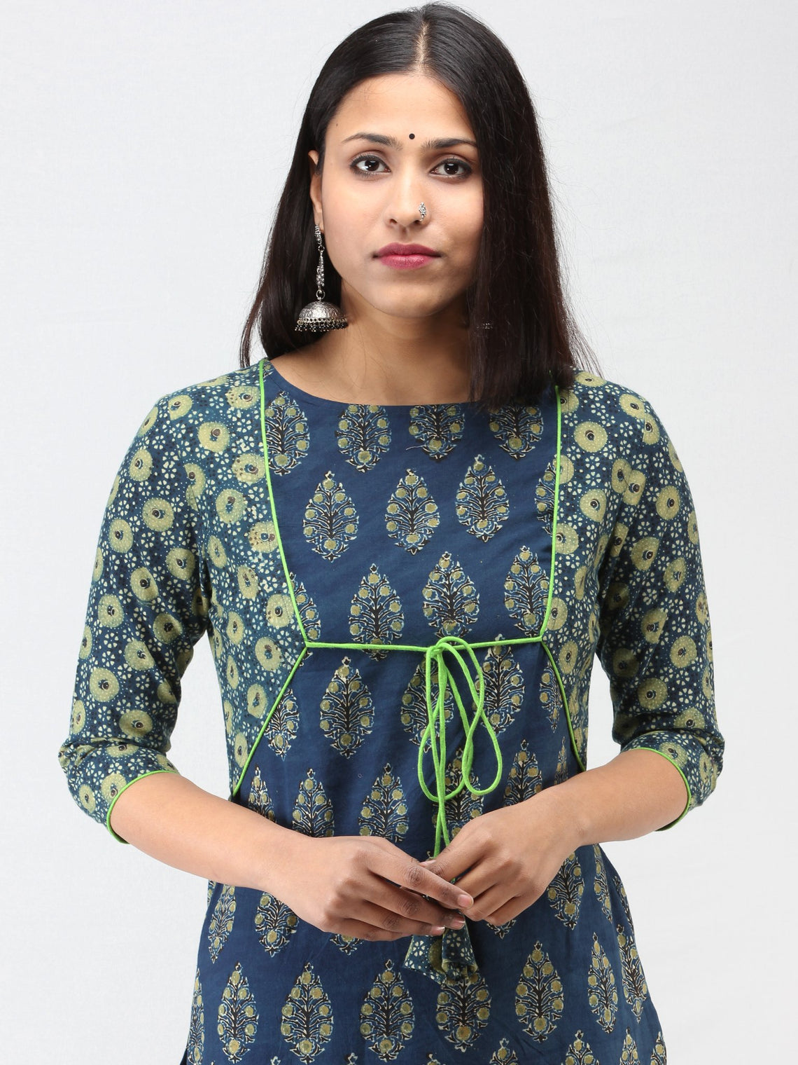 Indigo Green Ajrakh Hand Block Printed Cotton Kurta  - K211F1516
