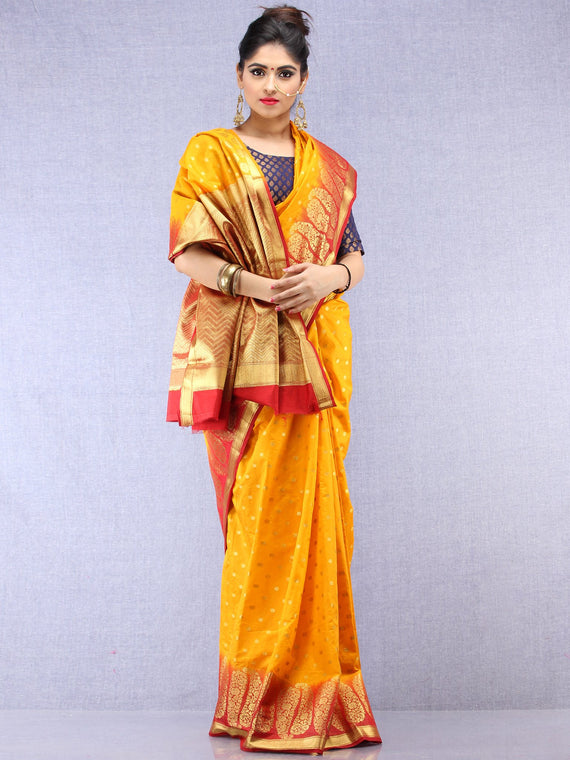 Banarasee Semi Silk Saree With Zari Work - Yellow Red Gold  - S031704387