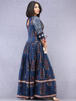 Tirana - Hand Block Mughal Printed Long Cotton Embroidered Dress - DS104F001